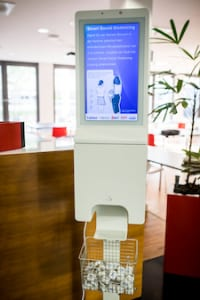 """Hand Sanitizer Station with 32"""" Touchscreen Kiosk"""
